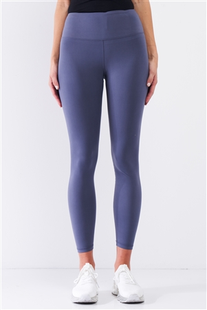 Violet Blue Mid-Rise Inner Waist Pocket Detail Tight Fit Soft Yoga & Work Out Legging Pants /1-2-2-1