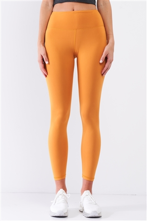 Amber Yellow Mid-Rise Inner Waist Pocket Detail Tight Fit Soft Yoga & Work Out Legging Pants /1-2-2-1