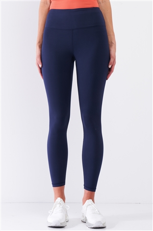 Navy Blue Mid-Rise Inner Waist Pocket Detail Tight Fit Soft Yoga & Work Out Legging Pants /1-2-2-1