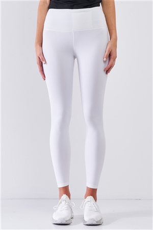White Mid-Rise Inner Waist Pocket Detail Tight Fit Soft Yoga & Work Out Legging Pants /1-2-2-1