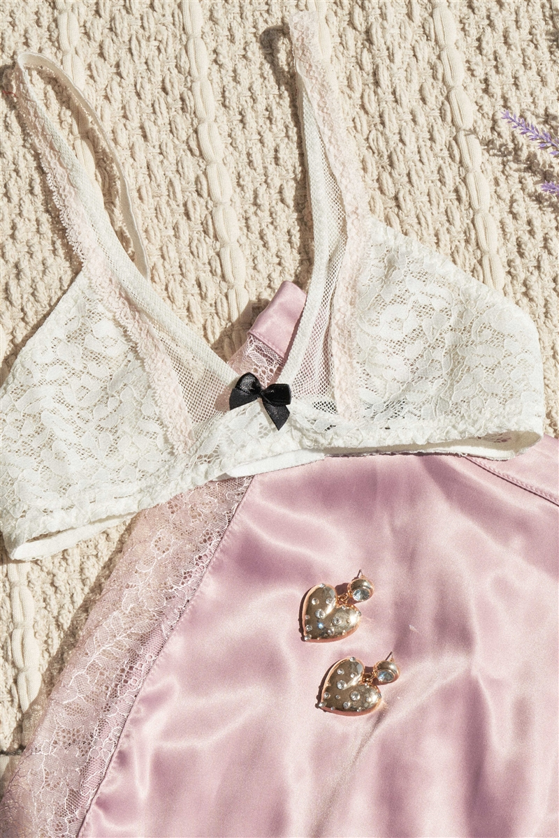 White Contrast Bow Lace Bralette
