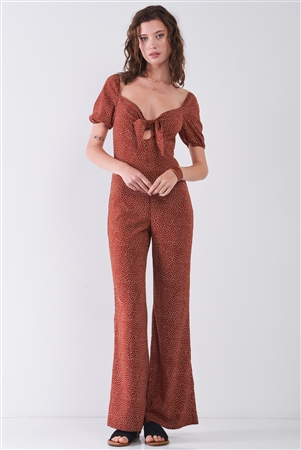 Rust & White Polka Dot Sweetheart Neck With Self-Tie Detail Wide Leg Jumpsuit