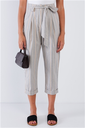 Natural Navy Taupe Striped High Waisted Tapered Folded Hem Pant