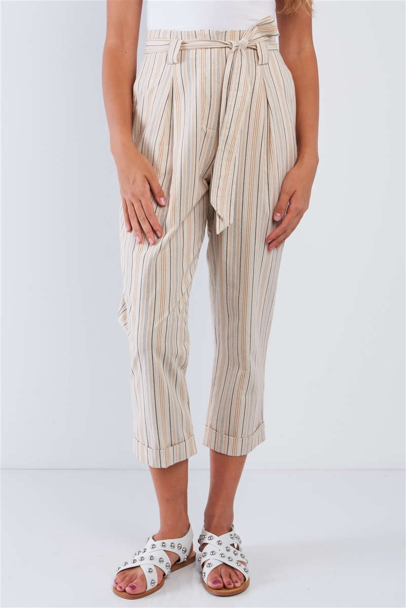 Natural Yellow Taupe Striped High Waisted Tapered Folded Hem Pant