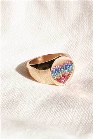 Gold Multi Rainbow Studded Heart Ring Band