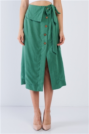 Green Button Down Collared Skirt