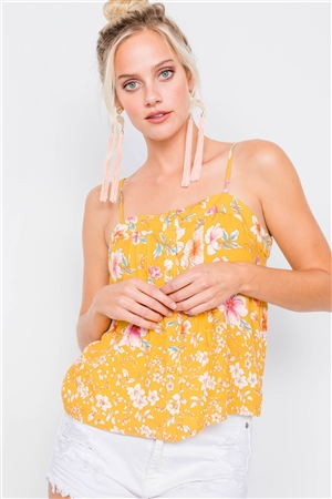 Yellow Vintage Boho Floral U-Shape Hem Cami Top