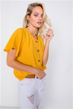 Mustard Round Neck Office Chic Butterfly Sleeve Chic Top