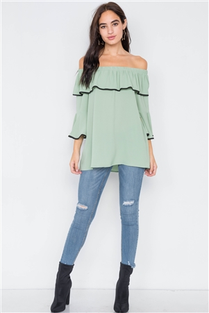 Sage Off-The-Shoulder Flounce Contrast Trim Top