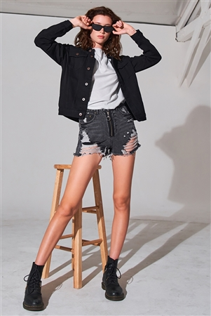 Black Oversized Long Sleeve Classic Denim Jacket /1-2-3-3-2