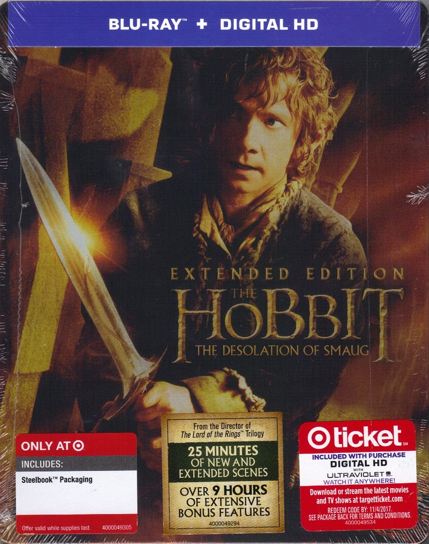 The hobbit: desolation of smaug extended edition steelbook (bd +.