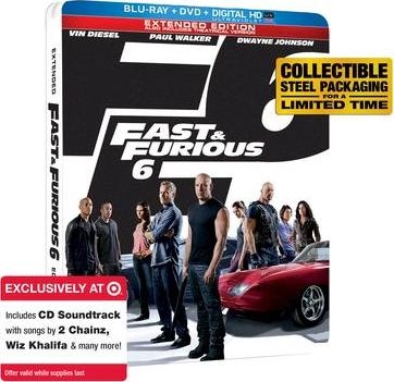 Fast and Furious 6: Extended Edition SteelBook w/ Sountrack (BD/DVD + Digital Copy)(Exclusive)