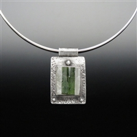 Quartz with Green Tourmaline and Sterling Silver Pendant