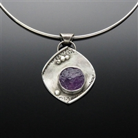 Sterling Silver and Natural State Amethyst Pendant