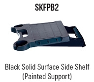 Black Solid Surface Side Shelf (Painted Support)