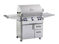 "Echelon 30"" Portable Grill, Single Side Burner, Analog Thermometer, Infrared Burner on Left Side, Magic View Window"