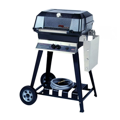 MHP JNR Natural Gas Grill With Stainless Steel Shelf And Stainless Steel Grids On Cart