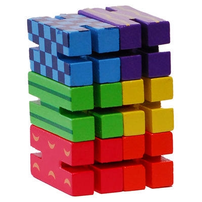 Got Special Kids| What Z'it Bendable, Colorful Wooden Blocks w/ Elastic Band