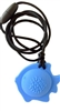 ChuBuddy Fish Chew Pendant is a full bellied, round shape that has great durability and is still soft to chew.  It comes with a breakaway clasp necklace.