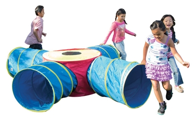 Pacific Play Institutional Fun Junction Tunnel Set with Four 4 ft Long Tunnels