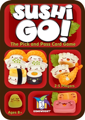 Interactive card game for kids ages 8+. Sushi Go! is played over the course of 3 rounds. Each round, players are dealt out a number of cards to begin with. They simultaneously select one card and play it.