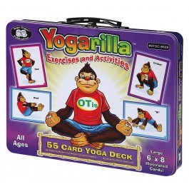 "Yogarilla Exercises and Activities 55 Card Yoga Deckoffers The 55 yoga poses and 110 activities in this oversized, colorfully illustrated 6"" x 8"" card deck help children understand how their bodies and minds work together."