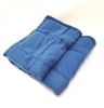 Weighted Blanket is made with non-toxic, washable plastic pellets. The pellets are evenly distributed in a quilted pattern so as to prevent weight shifting. For extra comfort these blankets may be warmed in your dryer or cooled in your freezer
