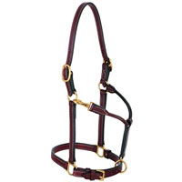 Double Buckle Crown Horse leather Halter at Working Horse Tack