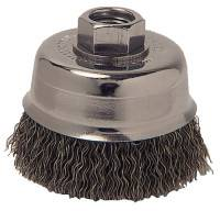 Crimped Wire Cup Brush, 3 in Dia., 5/8-11 Arbor, 0.012 in Carbon Steel