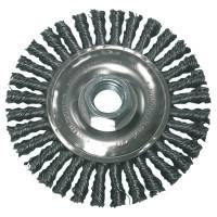 Stringer Bead Wheel Brush, 4 in D x 4 in W, 0.02 Carbon Steel Wire, Clamshell Pk