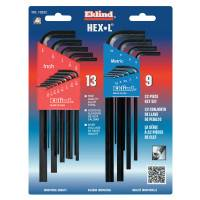 Hex-L Key Set, 22 per card, Hex Tip, Inch/Metric, Long Arm