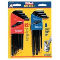 Ball-Hex-L Key Sets, 22 per set, Hex Ball Tip, Inch/Metric, Black Oxide