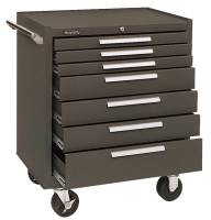 Industrial Series Roller Cabinets, 29 x 20 x 35 in, 7 Drawers, Brown, w/Slide