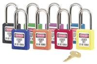 No. 410 & 411 Lightweight Xenoy Safety Lockout Padlocks, Purple, Keyed Diff.