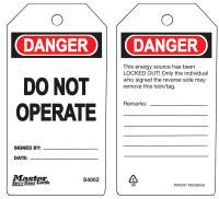 MASTER LOCK-DO NOT OPERATE SAFETY TAG