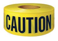 Barricade Tape, 3 in x 300 ft, Yellow, Caution