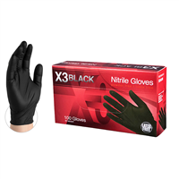 X3 Black Nitrile Gloves Powder Free Latex Free [CASE]