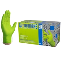 Gloveworks HD Green Nitrile  Extra Thick  Diamond Texture  Powder Free [CASE]