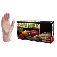 AMMEX Disposable Embossed Polyethylene Food Service Poly Gloves [CASE]