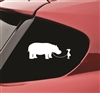 Girl walking a Hippopotamus Hippo funny Vinyl Decal Sticker