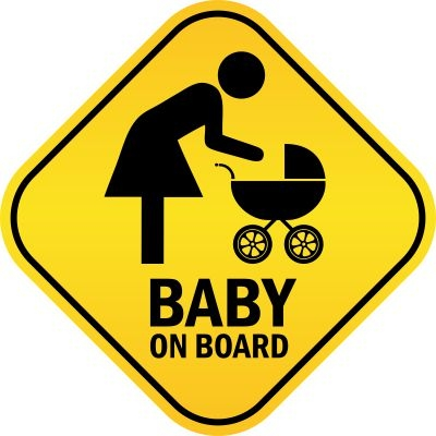 Baby On Board With Mom And Stroller Decal Sticker Bumper