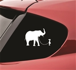 Girl walking an Elephant funny Vinyl Decal Sticker