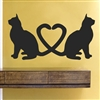 Cats tail heart silhouette  Vinyl Wall Art Decal Sticker