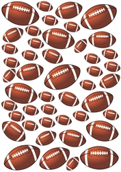 45 Footballs Vinyl Wall Art Decal Peel and Stick Sticker