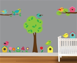 Birds and Birdhouses S4x488238 Vinyl Wall Art Decal Peel and Stick Sticker