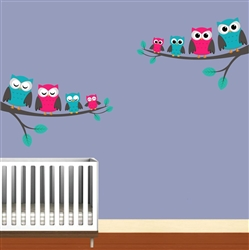 Owls on tree branches S4x488522 Vinyl Wall Art Decal Peel and Stick Sticker