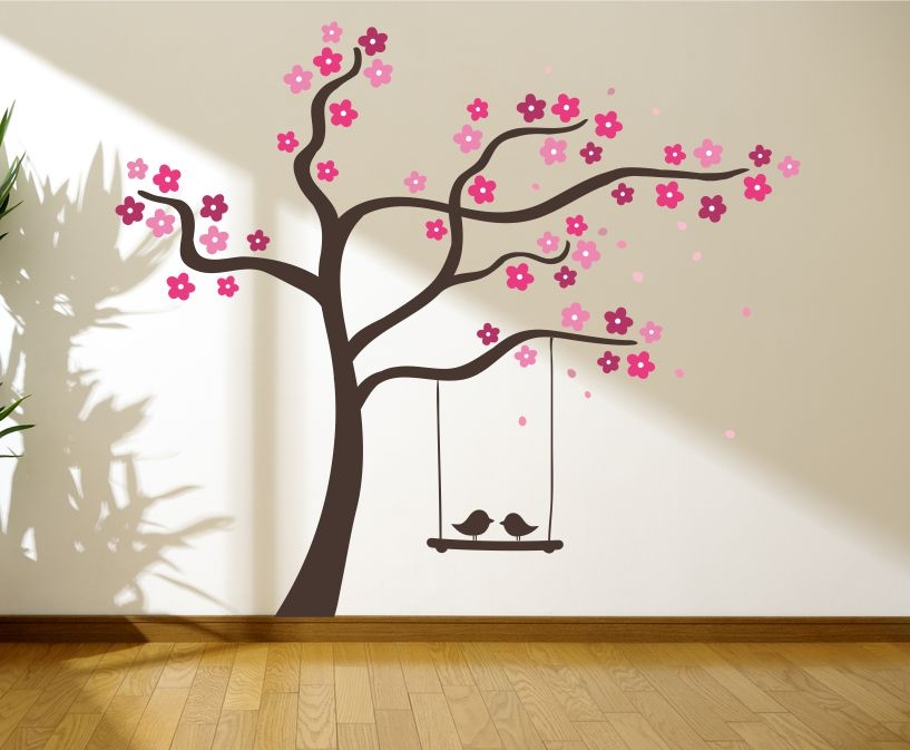 Tree With Love Birds On A Swing Wall Graphics, Wall Graphic, Tree