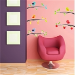 5 Birds on Branches Vinyl Wall Art Decal Peel and Stick Sticker