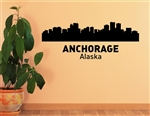 Anchorage Alaska City Skyline Vinyl Wall Art Decal Sticker