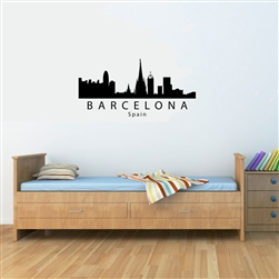 Barcelona Spain City Skyline. Vinyl Wall Art Decal Sticker